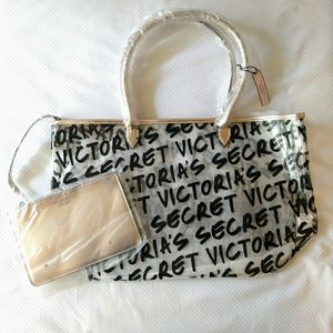 Victoria's Secret Clear Graffiti Logo Tote w/Bag